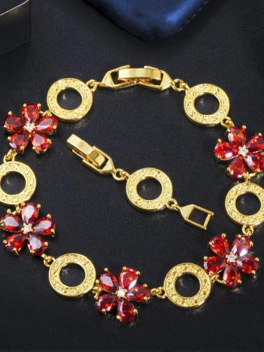gules Copper Cubic Zirconia Flower Luxury Bracelet