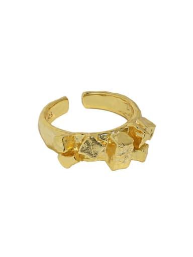 18K gold [No. 14 adjustable] 925 Sterling Silver Irregular Vintage Band Ring