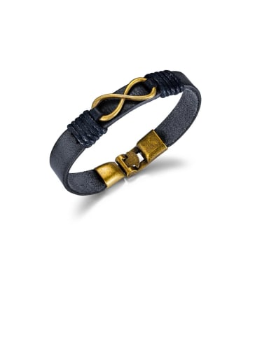 1395-black Titanium Black Leather Number Vintage Band Bracelets
