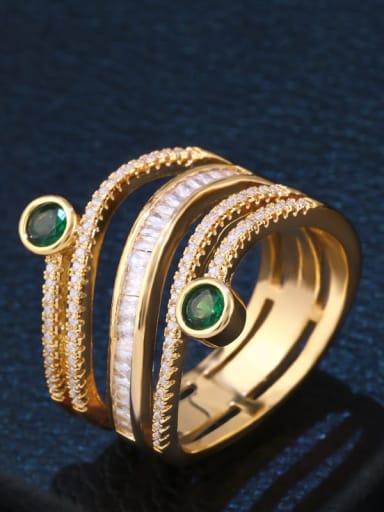 golden Brass Cubic Zirconia Geometric Statement Stackable Ring