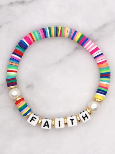 QT B200145A Stainless steel Multi Color Polymer Clay Letter Bohemia Stretch Bracelet