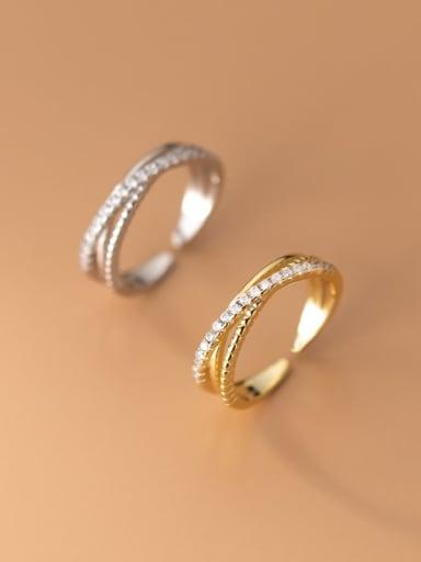 925 Sterling Silver Rhinestone Geometric Minimalist Stackable Ring