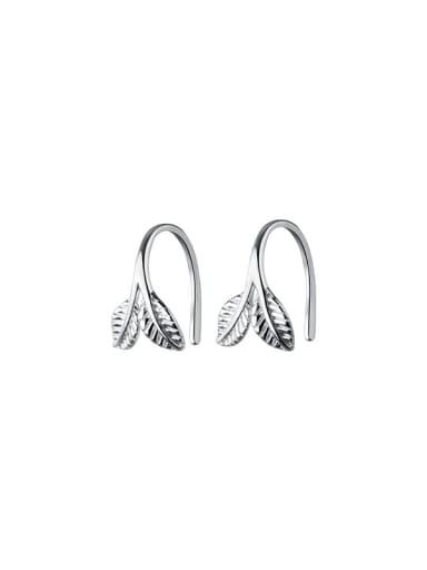 silver 925 Sterling Silver Leaf Minimalist Stud Earring