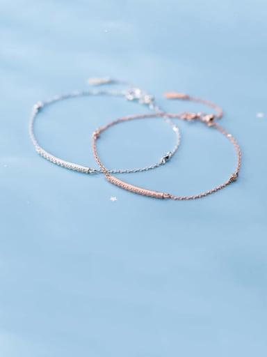 925 Sterling Silver Rhinestone Geometric Minimalist Link Bracelet