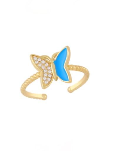 blue Brass Enamel Rhinestone Butterfly Minimalist Band Ring