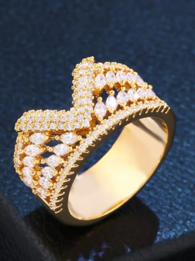 golden Brass Cubic Zirconia Irregular Statement Cocktail Ring