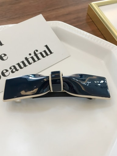 Large navy Cellulose Acetate Trend Bowknot Alloy Hair Barrette Spring clip