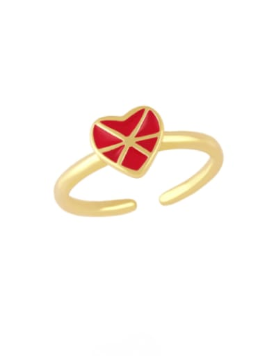 red Brass Enamel Heart Vintage Band Ring