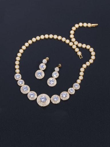Gold white zirconium Brass Cubic Zirconia Luxury Round  Earring and Necklace Set