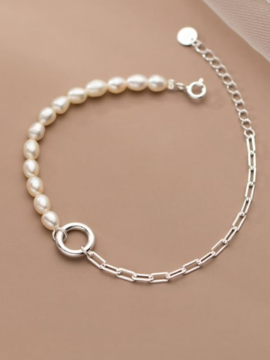 925 Sterling Silver Freshwater Pearl Asymmetry Geometric Chain Minimalist Link Bracelet
