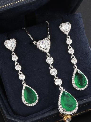 Eardrop Brass Cubic Zirconia Vintage Water Drop  Earring and Necklace Set