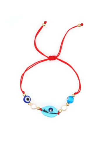 B B200052A Stainless steel Freshwater Pearl Multi Color Mouth Bohemia Woven Bracelet