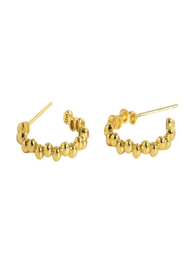 Gold 925 Sterling Silver Smooth Round Vintage Stud Earring