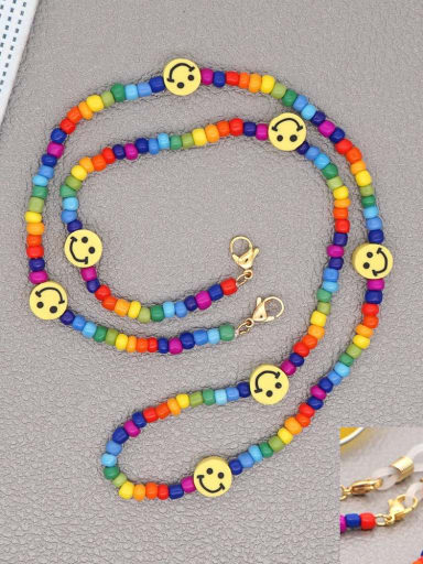 GZ N200010A Stainless steel Bead Multi Color Smiley Bohemia Hand-woven Necklace