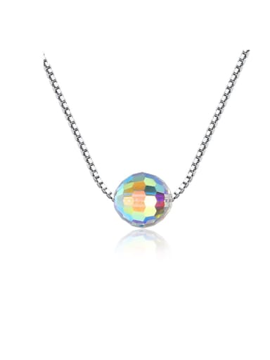 925 Sterling Silver Simple Synthetic Crystal Pendant Necklace