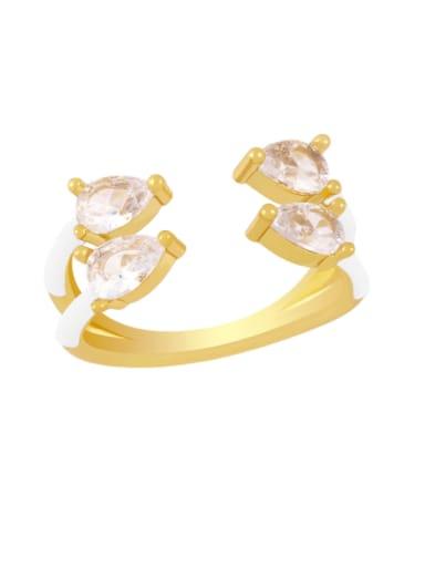 white Brass Enamel Water Drop Trend Stackable Ring