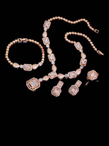 Champagne gold 4-piece set Brass Cubic Zirconia  Luxury Geometric Ring Earring Braclete And Necklace Set