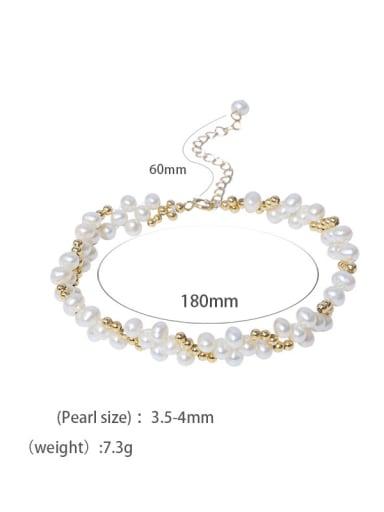 C Brass Freshwater Pearl Geometric Vintage Strand Bracelet