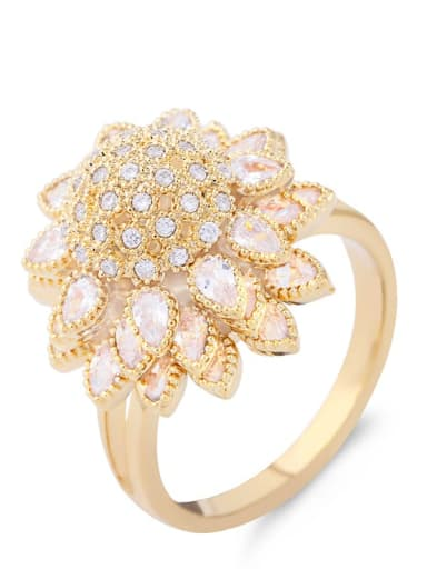 Brass Cubic Zirconia Flower Statement Cocktail Ring