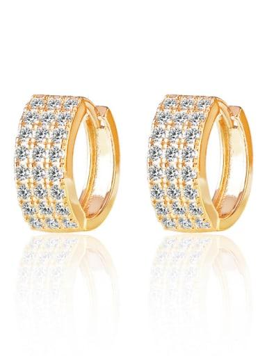 Brass Cubic Zirconia Geometric Minimalist Huggie Earring