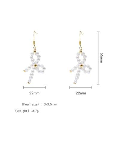 Brass Freshwater Pearl Bowknot Vintage Drop Earring