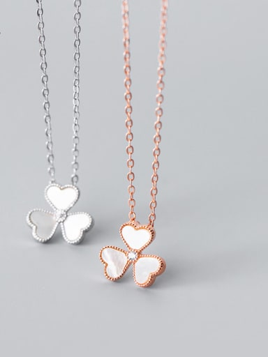 925 Sterling Silver Shell Flower Minimalist Necklace