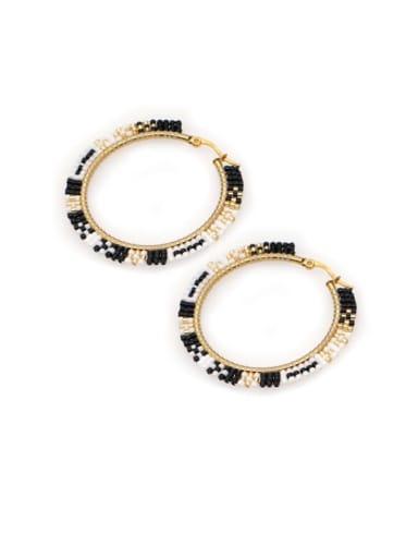 MI E200094B Stainless Steel Multi Color Miyuki Beads Geometric Bohemia Pure Handmade Earring
