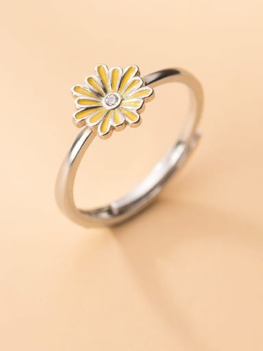 925 Sterling Silver Enamel Flower Minimalist Band Ring