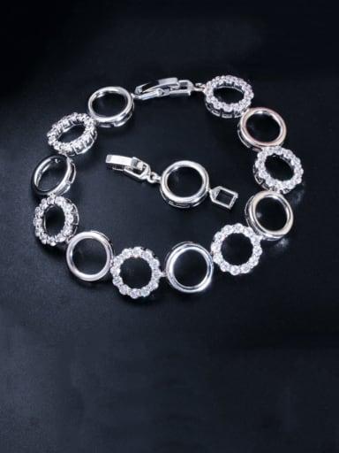 Copper Cubic Zirconia Geometric Minimalist Bracelet