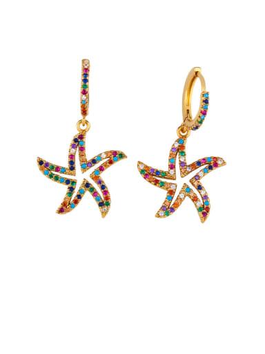 Brass Cubic Zirconia Star Vintage Huggie Earring