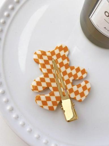 Checkered orange 5.5cm Cellulose Acetate Minimalist Bear Alloy Multi Color Hair Barrette