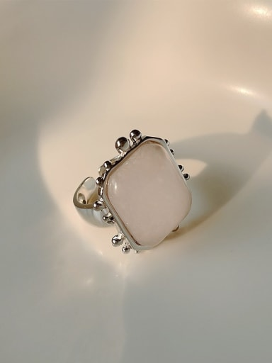 925 Sterling Silver Geometric Pink Crystal Vintage Band Ring