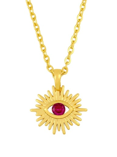 Rose red Brass Cubic Zirconia Evil Eye Vintage Necklace