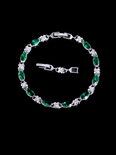 green Brass Cubic Zirconia Geometric Luxury Bracelet