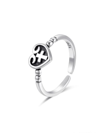 925 Sterling Silver Heart Cross  Vintage Band Ring
