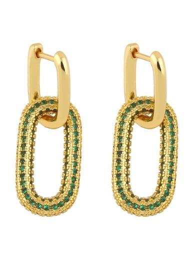 Eru13 green Brass Cubic Zirconia Geometric Vintage Cluster Earring