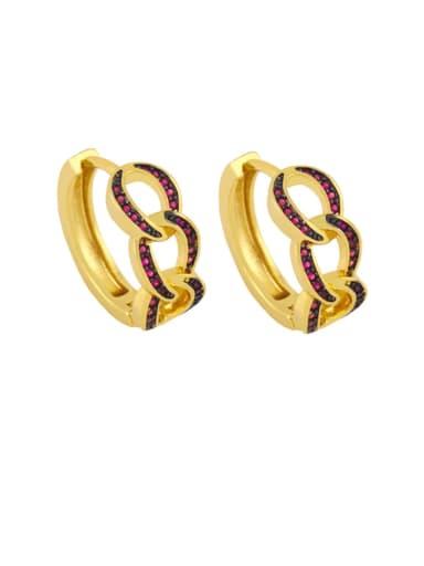 Rose red Brass Cubic Zirconia Geometric Bohemia Stud Earring