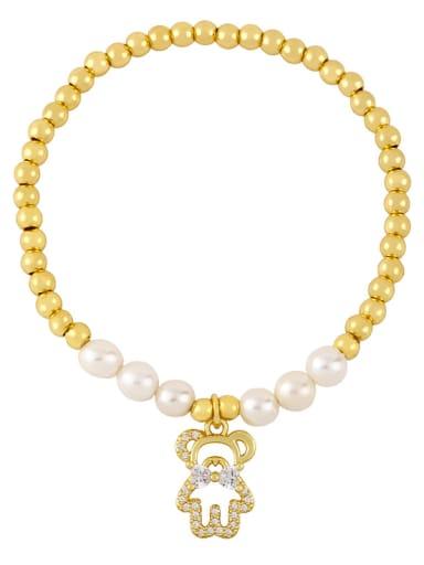 B Brass Imitation Pearl Star Vintage Beaded Bracelet