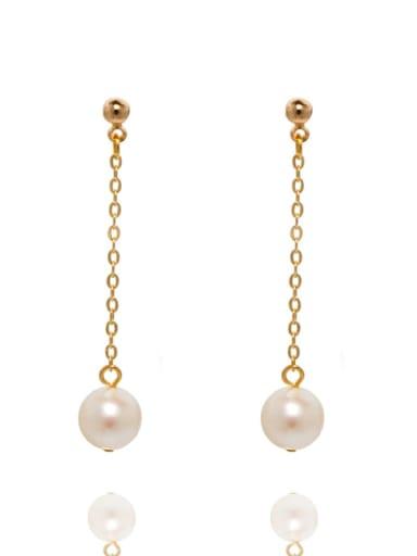 Brass Freshwater Pearl Tassel Minimalist Drop Earring