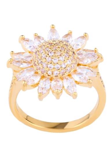 golden Brass Cubic Zirconia Flower Statement Cocktail Ring