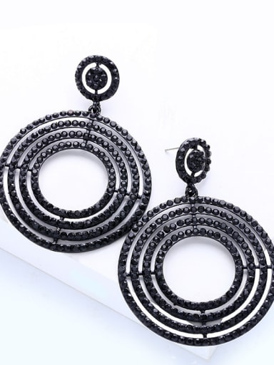 black Alloy Rhinestone Geometric Luxury Cluster Earring