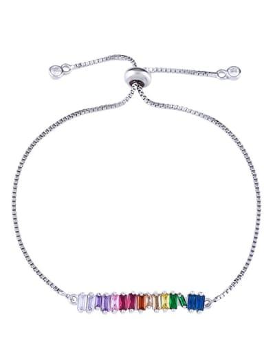 stell Alloy Cubic Zirconia Geometric Dainty Link Bracelet