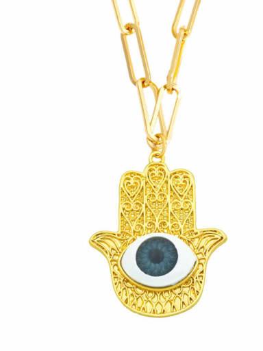 C (gray) Brass Cubic Zirconia Evil Eye Vintage Necklace