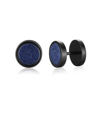 Blue sandstone Titanium Steel Turquoise Geometric Hip Hop Stud Earring