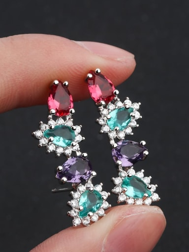 platinum Copper Glass stone Geometric Vintage Ear Cuff Earring