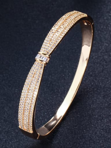 gold Brass Cubic Zirconia Butterfly Classic Band Bangle