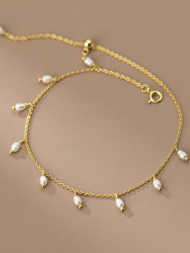 925 Sterling Silver Freshwater Pearl Oval Minimalist Anklet