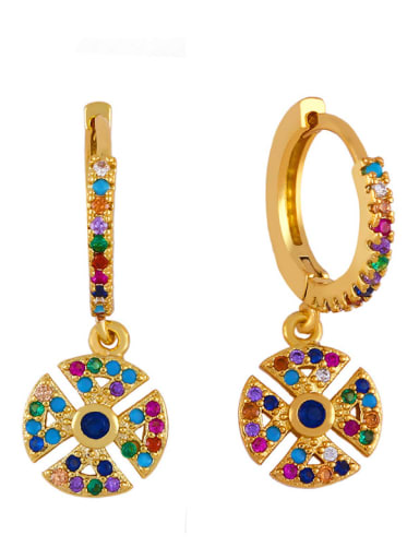 circular Brass Cubic Zirconia Friut Bohemia Huggie Earring