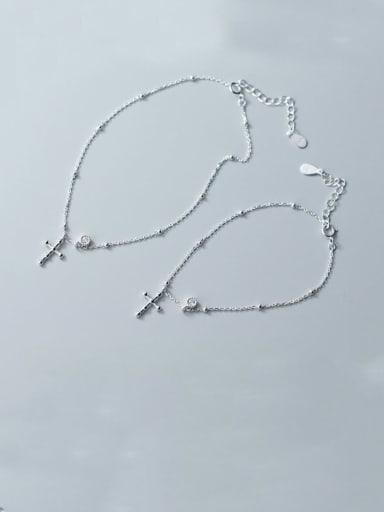 925 Sterling Silver Cross Minimalist Link Bracelet