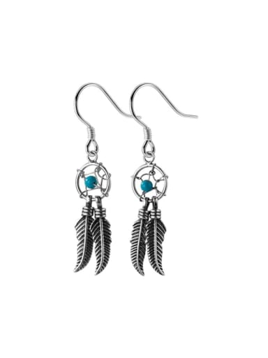 925 Sterling Silver Turquoise Feather Vintage Hook Earring